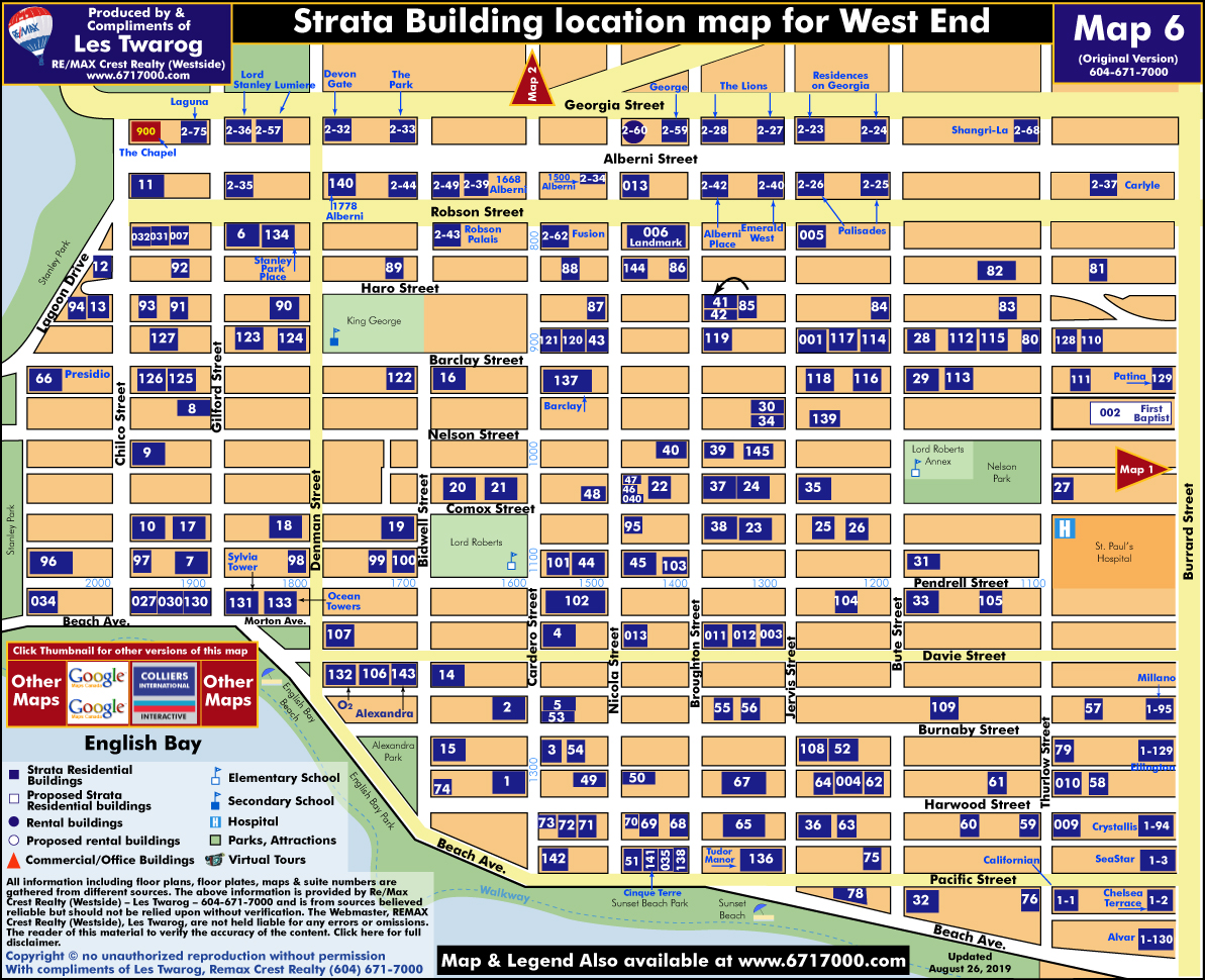 Detailed Interactive Downtown Vancouver Building Location Maps with Individual Building Listings & Sale History Including Rentals for MAP 6 - Vancouver West End