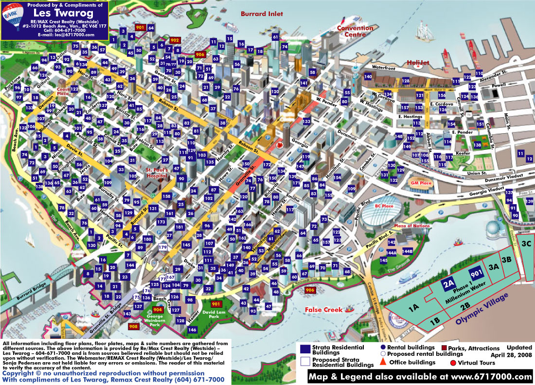 3D Map of Vancouver with over 1000 Vancouver Condos and Residential ...